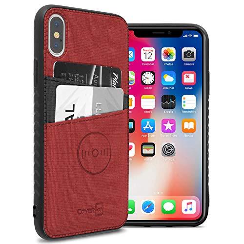 CoverON EDC Series iPhone XS Max Hülle, Kartenhülle mit magnetischer KFZ-Halterung, kompatibel mit Platte und Kartenfächern für Apple iPhone XS Max (16,5 Zoll), rot Apple-platte