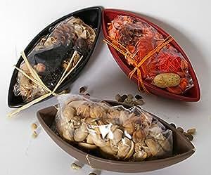 vassoio etnico centrotavola ovale con pote pourry per composizioni e fiori secchi