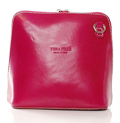 Vera Pelle italiana di borsa a tracolla da donna Verde (Rosa)