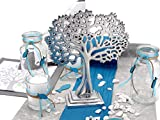 ZauberDeko Tischdeko Kommunion Konfirmation Petrol Blau Grau Baum des Lebens Set 20 Personen Fisch - 2
