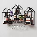 HT BEI Schmiedeeisen Schwarz Wand-montiert Multi-Lagerung Keine Notwendigkeit, einfache Art und Weise bequeme Lagerung zu montieren Einfach zu installieren Starke Tragfähigkeit kann 12 Weingläser hängen |