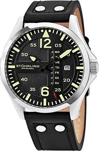 Stührling Original - Reloj analógico deportivo para hombre, de acero inoxidable, estilo aviador, configuración rápida de fecha y hora, correa de piel de estilo informal