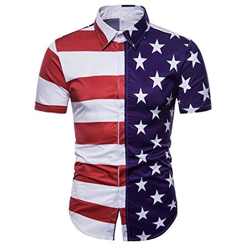 Zarupeng Herren Slim Kurzarm Hemd, Amerikanische Flagge Druck Shirt Top Casual T-Shirt Oberteile (XL, A)