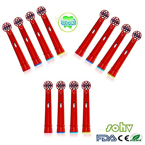 Sohv® Elektrische Zahnbürste Ersatz Heads Passend für KIDS für Braun Oral-B Stages Power-Kids Bürstenköpfe Pack-Bürsten-Kinder-Köpfe EB10-4,12stk(3x4)