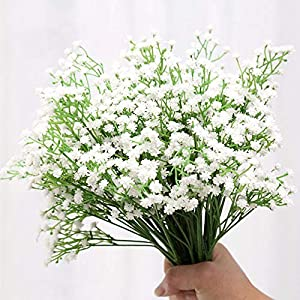 ysister 20 Piezas de Flores Artificiales Decorativas Ramo Artificial Gypsophila Flores Flores Falsas Flores de Seda para…