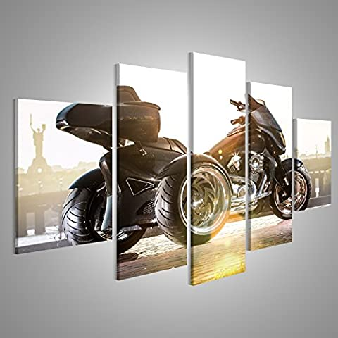 Canvas Wall Art Black trike stands on the road Picture Poster Large XXL Photo Print
