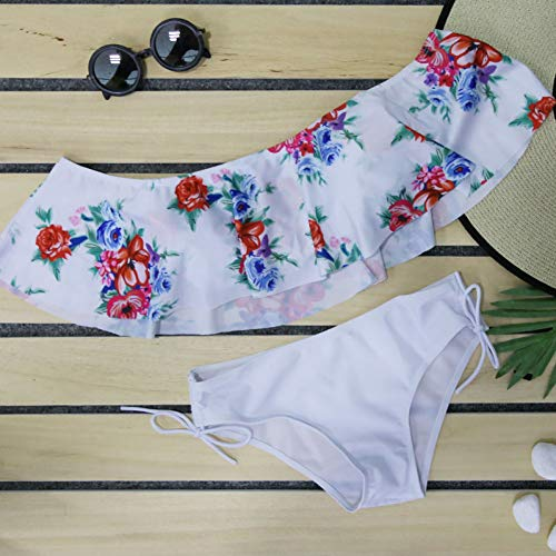LRHJRG Bikini Low Waist Badeanzug New Flowers Ruffle Bikinis Damen Bademode Bandeau Bottom Solide Top Print Badeanzüge XL -