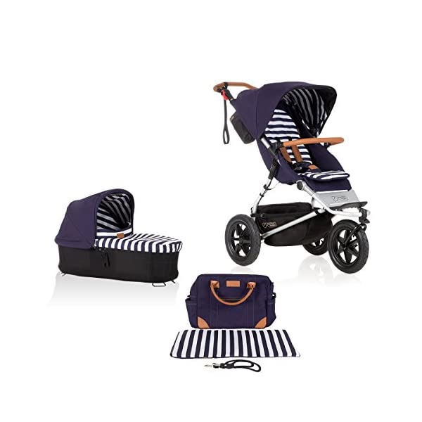 Mountain Buggy Model: Urban Jungle Luxury Collection Nautical Including Changing Bag and Baby seat (carrycot Plus) Mountain Buggy Box contents: 1 Mountain Buggy Urban Jungle Luxury Collection Nautical including changing bag and baby seat (carrycot plus) Product weight: 11.5 kg Seat load: 25 kg 1