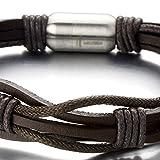 Handarbeit Herren Leatherarmband Schwarz Leather Armreif mit Edelstahl Magnetverschluss - 2