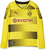PUMA Kinder BVB Kids Long Sleeve Home Replica Shirt with Sponsor Logo Fußball T, Cyber Yellow Black, 164