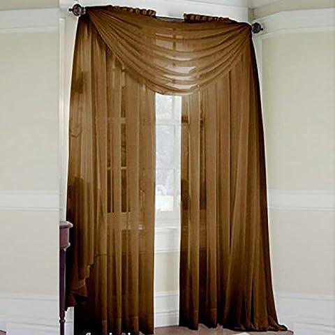 QHGstore Nuovo colore solido Voile Sheer tenda della finestra Pannello di Tende di 100 * 200cm, contiene solo lo screening finestre senza tende Marrone