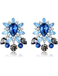 Jewels Galaxy Crystal Elements Luxuria Copper Drop Earring for Women (Multi-Colour)(ERG-2298)