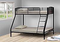 Comfy Living Black 3ft 4ft6 Triple Metal Kids Bunk Bed Without Mattresses