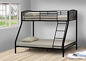 Comfy Living Black 3ft 4ft6 Triple Metal Kids Bunk Bed Tanya Mattresses