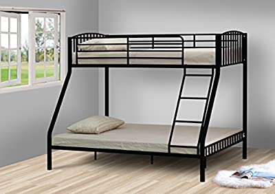 Black 3ft and 4ft6 Triple Metal Kids Bunk Bed With Tanya Mattresses