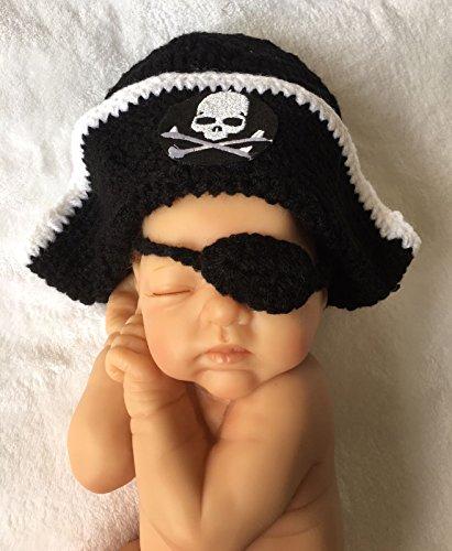 Pirat, Newborn Baby Mädchen Boy/crochet Knit Kostüm Foto Fotografie Prop Hüte ()