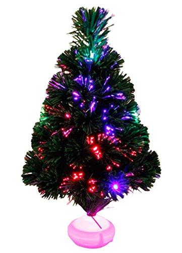 Outgeek fibra ottica albero di Natale verde albero di Natale artificiale con LED multicolore e Stand