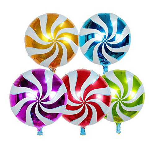 Wokee 10 Stück Folie Runde Dekorationen Lollipop Luftballon für Geburtstag Hochzeit Party Babydusche,Valentinstag