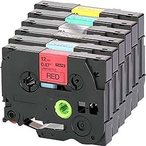 Set Schriftband für Brother TZe-431-931 + TZe-335 12mm breit x 8m Länge kompatibel zu TZe-431 / 531 / 631 / 731 / 931 / 335