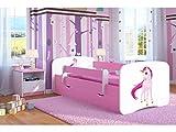 Kocot Kids Kinderbett Jugendbett 70x140 80x160 80x180 Rosa mit Rausfallschutz Matratze Schubalde und Lattenrost Kinderbetten für Mädchen - Einhorn 160 cm