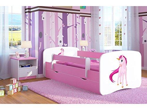 Kocot Kids Kinderbett Jugendbett 70x140 80x160 80x180 Rosa mit Rausfallschutz Matratze Schublade und Lattenrost Kinderbetten für Mädchen - Einhorn 180 cm
