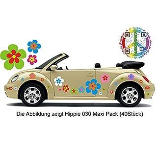 Hippie Blumen Aufkleber, Autoaufkleber Hippie 030 - bunt gemischt (42)