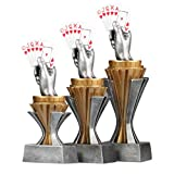 Pokalset, Trophäen Skat mit Sockel in Gold/Silber 3 Stück Größe S, M und L