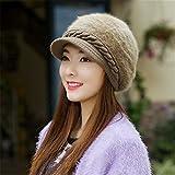 MONEYY Cappello invernale femminile coreano maglia di lana tappo aletta anatra beret Cappello invernale di mezza età tappo auricolare, L