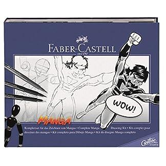 Faber-Castell 167136 – Estuche de iniciación al manga, incluye instrucciones, set de rotuladores y lápices de dibujo y maniquí