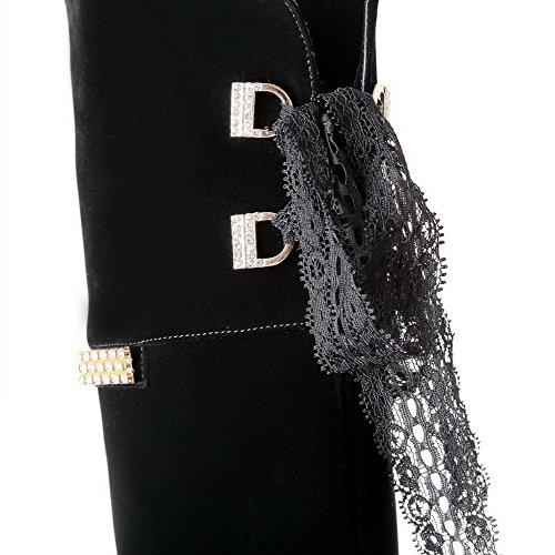 VogueZone009 Damen Blend-Materialien Rund Zehe Hoher Absatz Stiefel Schwarz-Lesbie