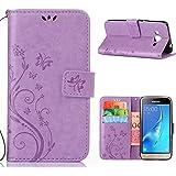 MOONCASE Galaxy J3 Bookstyle Étui Fleur Housse en Cuir Case à rabat pour Samsung Galaxy J3 Coque de protection Portefeuille TPU Case Violet clair