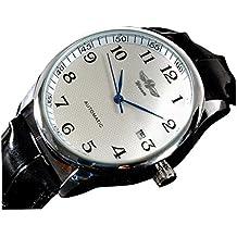 YPS hombres de cuero de lujo de la correa vestido de mecánico automático Auto del reloj análogo Auto Fecha-White WTH0777
