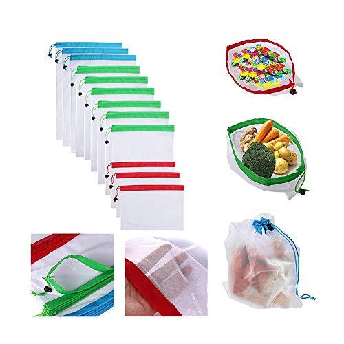 Kostüm Einfach Lol - Skryo 12pcs Reusable Produce Bags Waschbare Taschen Shopping Gemüse Obst Spielzeug Lagerung