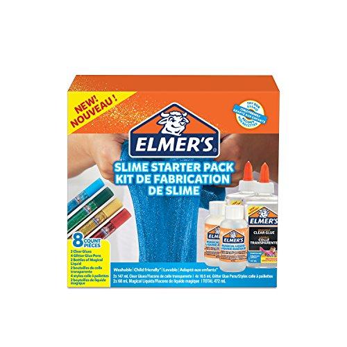 Set Aktivator (Elmer's Starterset für klebrigen Slime, klarer PVA Kleber, Glitzer-Klebestifte und magische Slime-Aktivator-Flüssiglösung, 8 Teile)