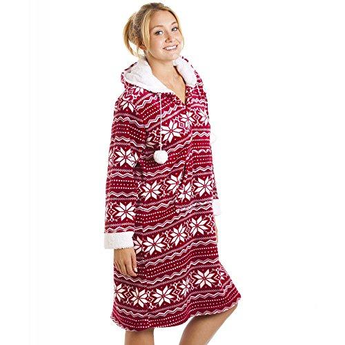 Chemise de nuit épaisse avec capuche - toucher peau de pêche - motif nordique - rouge/blanc Rouge
