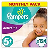 Pampers Active Fit 124 Nappies with Absorbing Channels, 13 - 25 kg, Size 5+