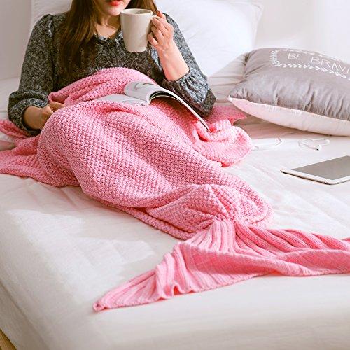 Meerjungfrau Decke Handgemachte Häkeln Schwanz Decke Sofa Schlafdecke, ZQL Weiche Strick Mermaid Schwanz Schlafsack für Erwachsene, All Season Schlafsack (Rosa)