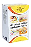 #4: 18Pc 3 Different Size Plastic Food Snack Bag Pouch Clip Sealer for Keeping Food Fresh for Home Kitchen Camping (Multi Color)