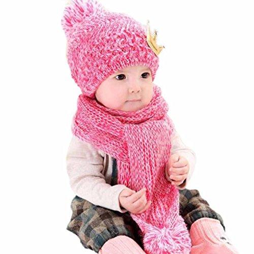 Babybekleidung Hüte & Mützen Longra Niedliche Winter Baby Kinder Mädchen Jungen Warm Woolen Coif Haube Schal Mützen Hüte (Hot Pink)