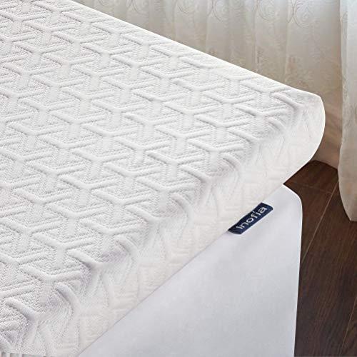 Inofia Matratzentopper 180x200 Matratzenauflage Memory Foam Viscoschaum Topper Höhe 6cm, 2CM ECOGREE AIRYFOAM + 4CM BIOGREY RELIEFOAM, weiß, 100 Nächte Probeschlafen,10 Jahre Garantie(180x200cm)