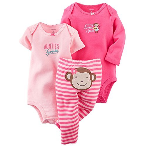 Carters Baby Girls 3-Piece Bodysuit & Pant Set Pink Monkey Preemie by Carter's Monkey Infant Bodysuit