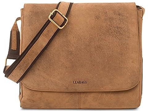 LEABAGS Hamburg genuine buffalo leather messenger bag in vintage style - Brown
