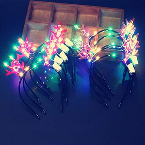 Kostüm Kinder Festival - ZXYSHOP 6 STÜCKE LED Haarbänder Spitze Leuchten Katzenohren Haarbänder Leucht Kostüm Headwear für Mädchen Frauen Kinder Hochzeit Festival Urlaub Weihnachten Halloween Party Favors,F