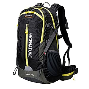 Facenature Outdoor Sports Camping Hiking Waterproof Backpack Daypacks Mountaineering Bag 40L 50L Travel Trekking Rucksack with Rain Cover (Black, 40L)