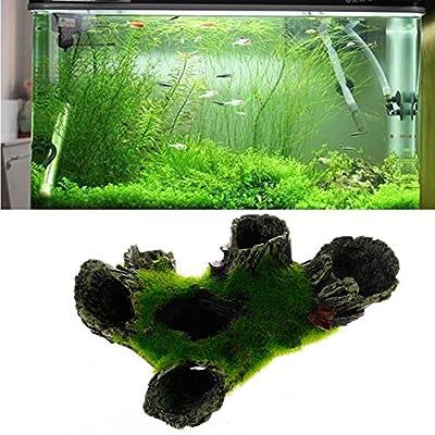 naisicatar Aquarium Rock Cave Dekoration mit Grün Gras für Fische Garnelen Verstecken