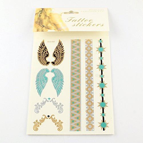 Temporary metallic tatuaggi adesivi angelo ali 3fogli tattoo