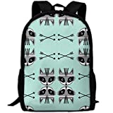 Fashion Raccoon Arrows Southwest Outdoor Shoulders Bag Fabric Backpack Multipurpose ypacks for Adult