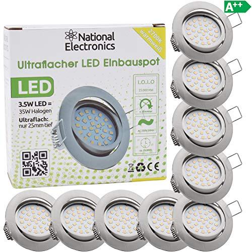 National Electronics Slim Line Einbaustrahler 3.5W 320 Lumen in silber mit nur 25mm Einbautiefe! 9er Set Deckenspot mit integriertem LED Leuchtmittel AC 230V 120° Einbauspot ww -