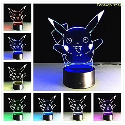 Lámpara LED 3d Illusion Pokemon 7Color con una mando a distancia GO Pikachu lámpara de mesa lámpara de lectura cambio de color luz nocturna regalo de générique