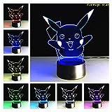 Lampe LED 3D ILLUSION Pokemon 7Farbe mit einer Fernbedienung GB Pikachu Tischleuchte Leselampe Farbwechsel Nachtlicht Geschenk